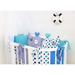 Комплект в кроватку By Twinz Маленький кит 6 предметов