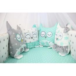 Комплект в кроватку By Twinz Совушки 4 предмета мята