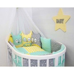 Комплект в кроватку By Twinz Совушки 4 предмета мята-желтый