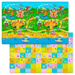 Детский двухсторонний игровой коврик Funkids Big-12 230 х 140 х 1,2 см Зоопарк