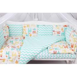 Комплект в кроватку AmaroBaby Жирафики 15 предметов