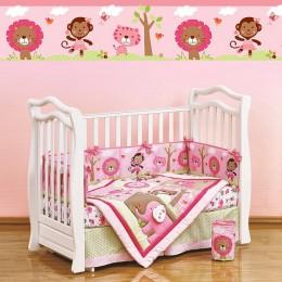 Комплект в кроватку Shapito Pink Zoo 7 предметов